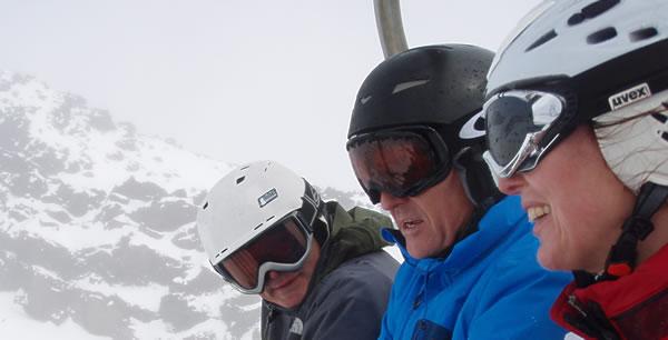 Taupo Ski Club members on a chairlift at Mt Ruapehu